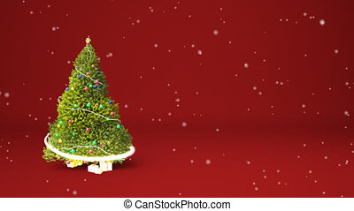 Christmas tree animation copyspace - Winter theme