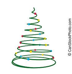 Christmas Tree Art Illustration - Christmas tree on a white...