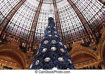 Christmas tree at Galeries Lafayette, Paris, France