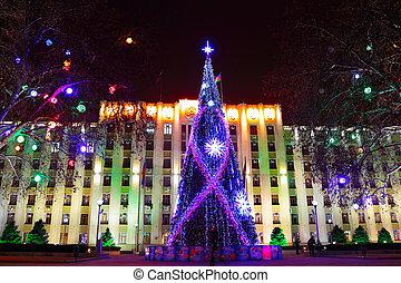 Christmas tree at night in Krasnodar, Russia