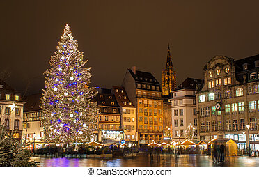 "Christmas tree at Place Kleber in Strasbourg, ""Capital of Christmas"". Alsace, France"