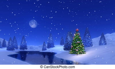 Christmas tree at snowy winter night Cinemagraph