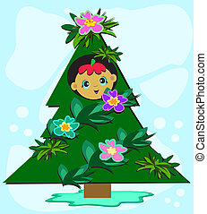 Tree baby. Tree with a crone from subjects baby. a vector ...