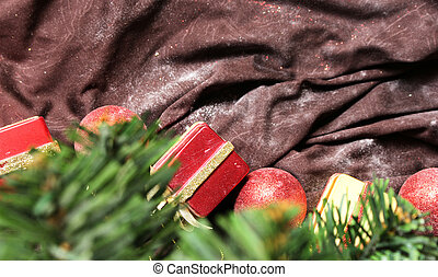 christmas tree background with decorations on background