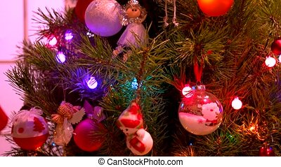 Christmas tree background with twinlking lights.