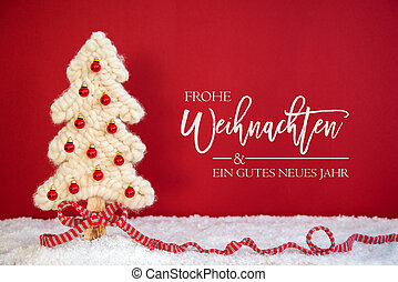 Christmas Tree, Ball, Gutes Neues Jahr Means Happy New Year, Red Background
