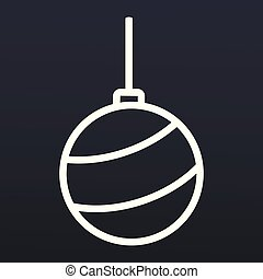 Christmas tree ball icon, outline style