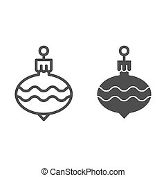 Christmas tree ball line and glyph icon. Cristmas toy vector illustration isolated on white. Holiday decoration outline style design, designed for web and app. Eps 10.