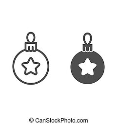 Christmas tree ball line and glyph icon. Tree toy vector illustration isolated on white. Xmas decoration outline style design, designed for web and app. Eps 10.