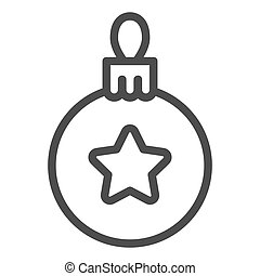 Christmas tree ball line icon. Tree toy vector illustration isolated on white. Xmas decoration outline style design, designed for web and app. Eps 10.