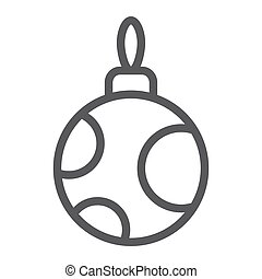 Christmas tree ball line icon, xmas and decoration, bauble sign, vector graphics, a linear pattern on a white background, eps 10.
