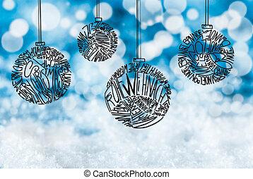 Christmas Tree Ball Ornament, Blue Background, Snow