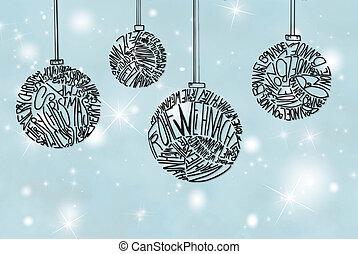 Christmas Tree Ball Ornament, Light Blue Background