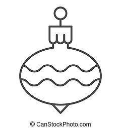 Christmas tree ball thin line icon. Cristmas toy vector illustration isolated on white. Holiday decoration outline style design, designed for web and app. Eps 10.