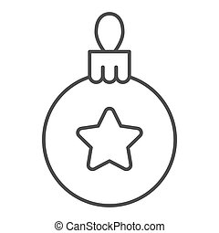 Christmas tree ball thin line icon. Tree toy vector illustration isolated on white. Xmas decoration outline style design, designed for web and app. Eps 10.