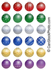 Twenty-four colorful shiny christmas tree balls - a kind of an advent calendar - with different ornaments. Isolated vector illustration over white background.