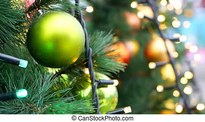 Christmas tree balls lights