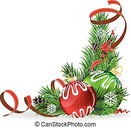 Christmas tree balls with red ribbon