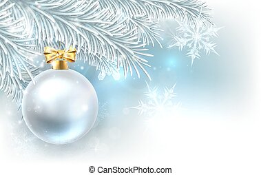 Christmas Tree Bauble Background - Snowflakes and Christmas...