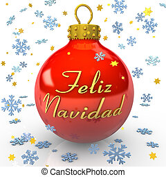 Christmas Tree Bauble - Feliz Navidad - Red bauble with text...