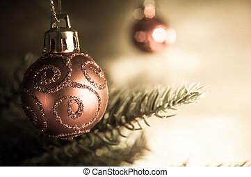 Christmas Tree Bauble - Close up of a hanging Chistmas tree...