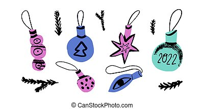 Christmas tree baubles and doodle fir tree brunches set. Funky Christmas balls with tree, eye, star, 2022 lettering