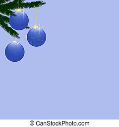 Christmas Tree Baubles on Light Blue