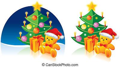 Christmas tree, bear and present