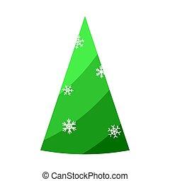 Christmas tree. Beautiful cartoon colorful illustration on white backdrop. Vector design of cartoon christmas tree. Cute vector illustration. Winter season design element. Winter holiday decoration.