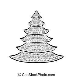 Christmas tree black sketch on white