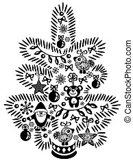 christmas tree black white