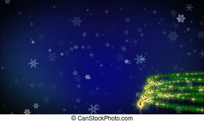 Christmas tree blue background with snowfall