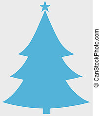 Christmas Tree Blue Flat Icon On White Background