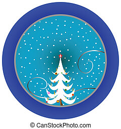christmas tree blue medallion