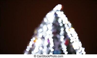Christmas tree bokeh - Illumination Christmas tree in...