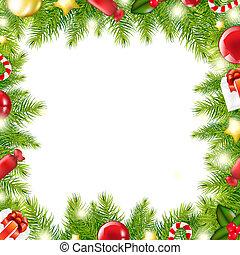 Christmas Tree Border, Vector Illustration