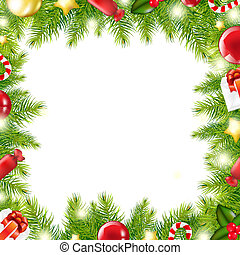 Christmas Tree Border, Vector Illustration