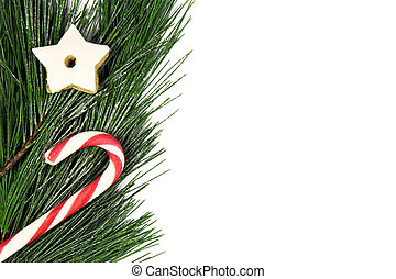 christmas tree border with candy cane and gingerbread