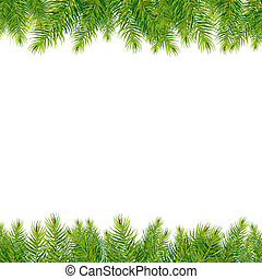Christmas Tree Borders, Isolated On White Background, Vector...