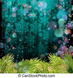 Christmas tree branch on a blue background. EPS 10