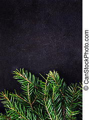 Christmas Tree Branch on Blackboard with copy space for greeting