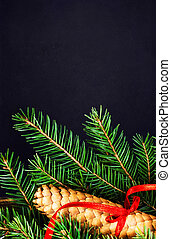 Christmas Tree Branch on Blackboard with pine cone and red festi