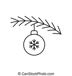 Christmas tree branch with ball on white background. Vector illustration