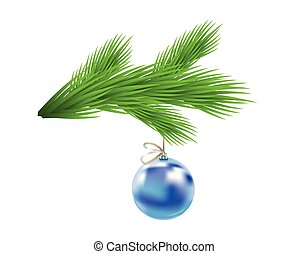 Christmas tree branch with glassy blue ball. Symbol of Christmas and New Year isolated on transparent background. Vector illustration.