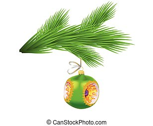 Christmas tree branch with glassy green ball. Symbol of Christmas and New Year isolated on transparent background. Vector illustration.