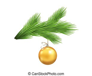 Christmas tree branch with glassy yellow ball. Symbol of Christmas and New Year isolated on transparent background. Vector illustration.