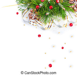 Christmas tree branch with gold serpentine and red sphere on...