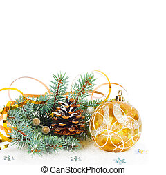 Christmas tree branch with gold serpentine and yellow sphere...