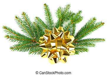 christmas tree branch with golden ribbon