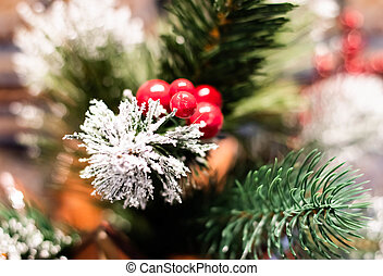 Christmas tree branch with red berries